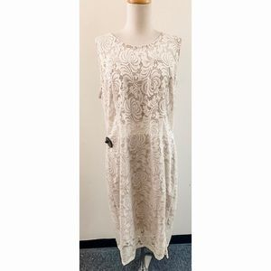 Cameo Lace Dress w See Through Waist and Back